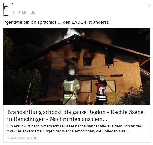 Kommentar bei Facebook zum Brand in Remchingen