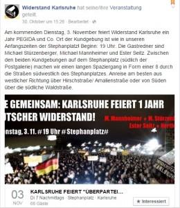 Screenshot der Ankündigung bei Facebook
