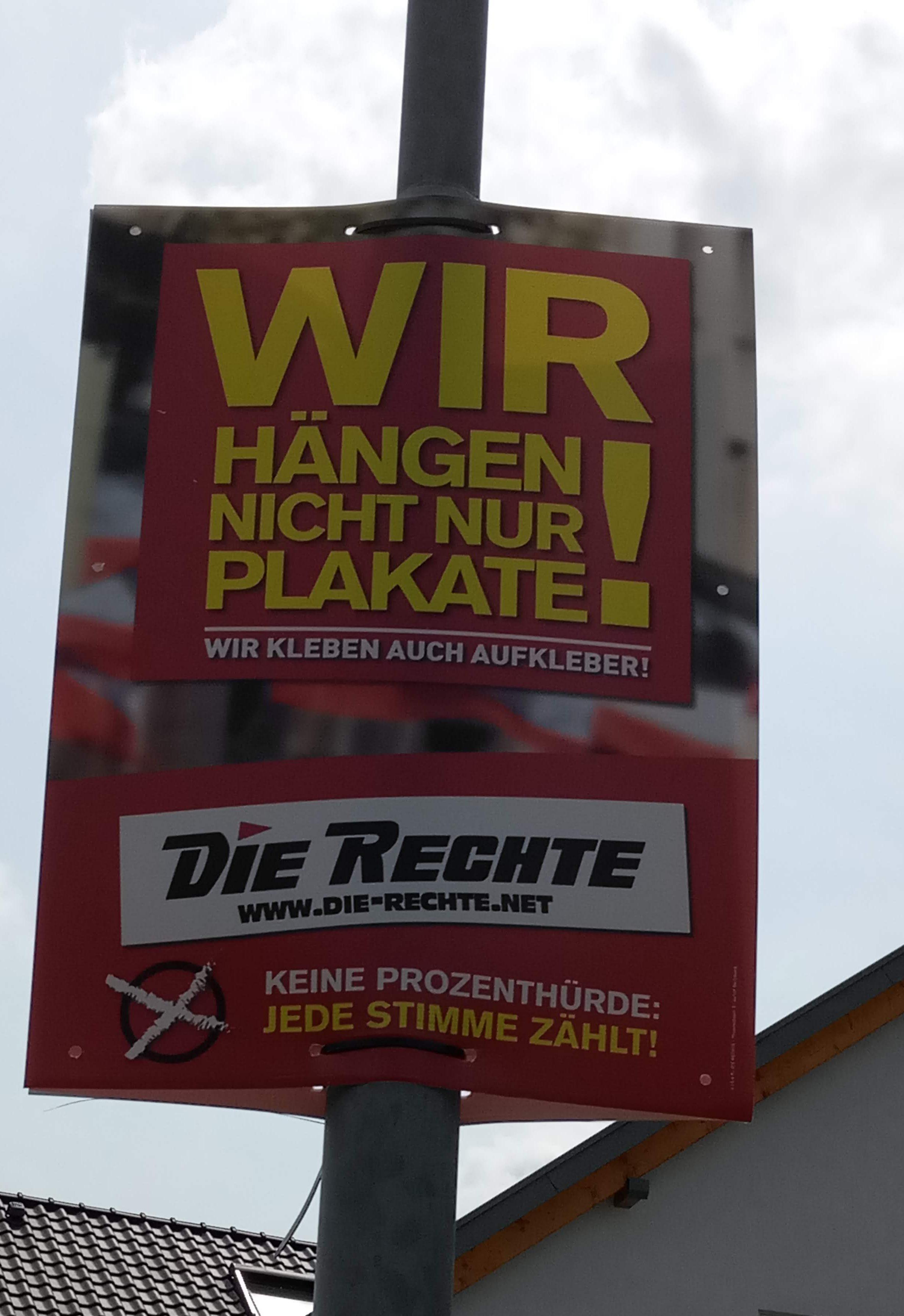 Plakate von Die Rechte in Malsch – persönliche Erklärung im Gemeinderat