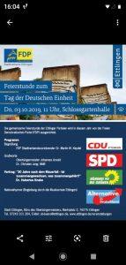 AfD als Veranstalterin zur Feierstunde zum 3. Oktober in Ettlingen
